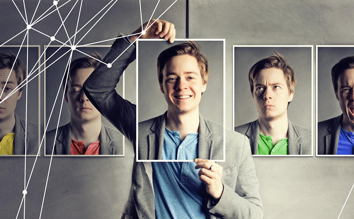 Ragazzo con espressioni facciali e aree emotive