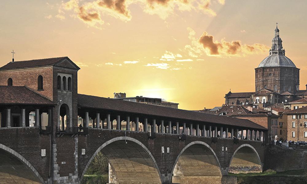 Panorama Pavia con Ponte Coperto